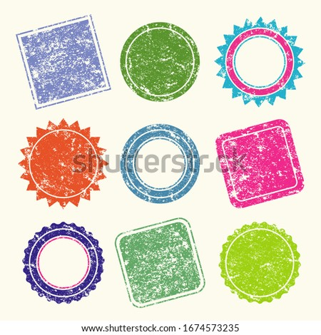 Vector Stamp without text. Set of Stamps. Multi-colored Stamps. Grunge Rubber Texture Stamp. Distressed Stamp Texture. Post Stamp Collection. Vector Stamps. Circle Stamps.