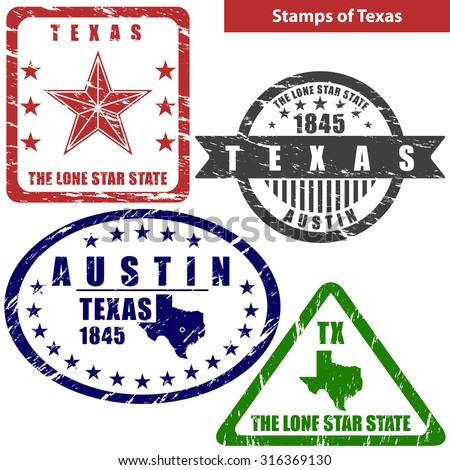 vector stamps of texas state in