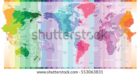 vector standard time zones of