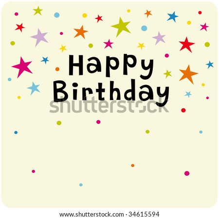Vector Star Background Birthday Card Design - 34615594