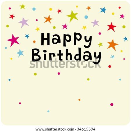 Vector Star Background Birthday Card Design - 34615594