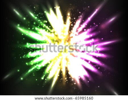 Vector star explosion concept with particles and bright light for your design.