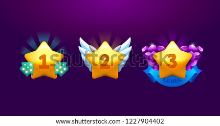 Vector star icons set. Collection icon design for game, ui, banner, design for app, interface, game development. Level up Award winner cartoon isolated vector star