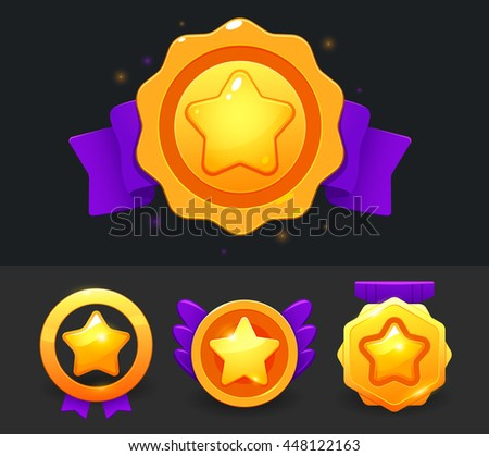 Vector star icons set. Collection icon design for game, ui, banner, design for app, interface, game development. Star icon bonus and items illustration.