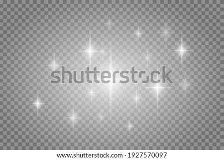Vector star light glow effect template isolated on transparent background