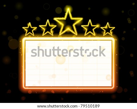 Vector - Star Neon Movie Sign With White Copyspace