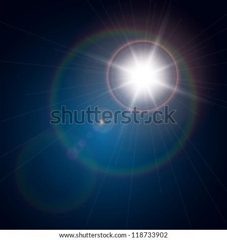 vector star  sun with lens