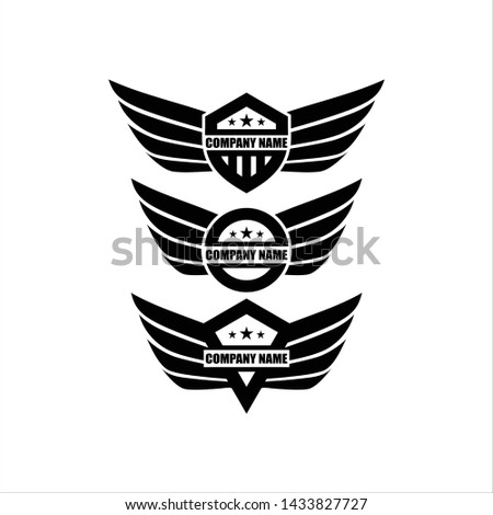 Vector star wings logo, Wing logo company, icon wing flying, eagle wing brand and logotype wing bird illustration, Set of Wings isolated black on white Background