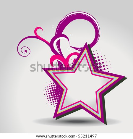 vector star with floral