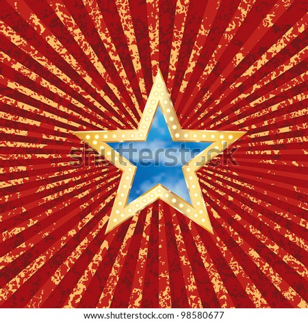 vector star with sky on grunge burst background - stock vector