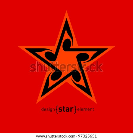 Vector Star with wavy notes. Company Logo template