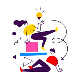 Vector startup idea business illustration of communication people and abstract shapes, flat line art style of team work