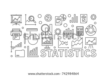 Vector statistics line illustration. Vector concept banner made with statistics icons on white background