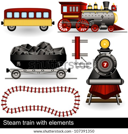 vector steam trains with wagons and a railway track.