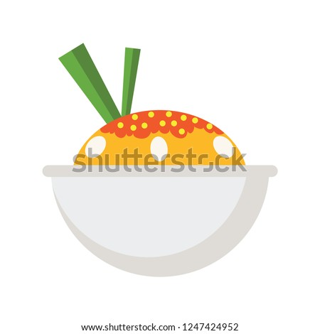 vector steamed rice icon. Flat illustration of rice bowl. healthy food isolated on white background. traditional food rice sign symbol