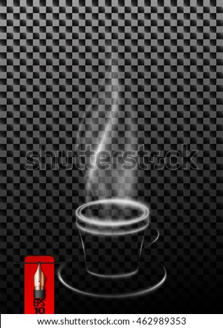 Vector steaming cup of coffee or tea made of smoke