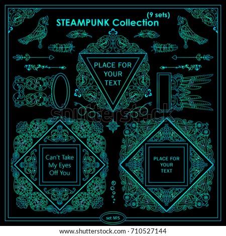 vector steampunk elements for design ornate vintage corners frames