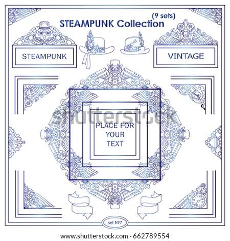 vector steampunk elements for design vintage corners frames