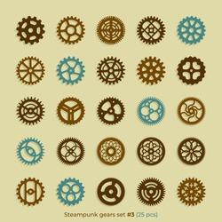Vector steampunk gears set of 25 victorian era vintage design style clockwork illustration metal cogs elements on background