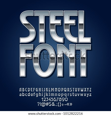 Vector Steel Font. Set of Silver Alphabet Letters, Symbols and Numbers