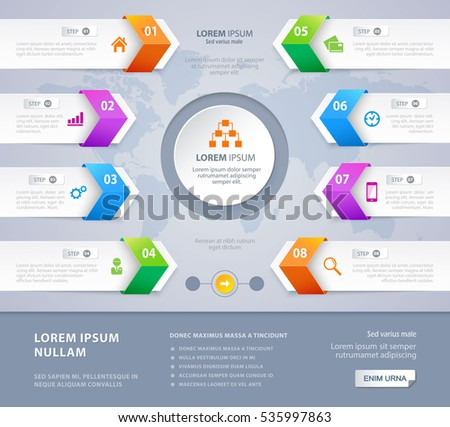 Vector steps option arrow banners Infographic design with world map on the grey background. Eps 10. Can be used for diagram, banner, number options, workflow layout, step up options or web design.