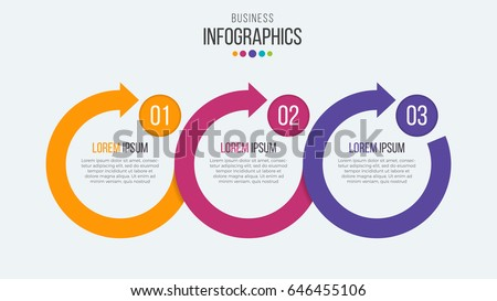 Vector 3 steps timeline infographic template with circular arrows