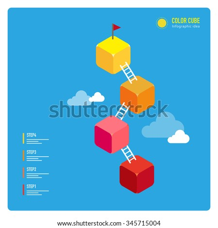 vector steps up to target with ladder, and plant flag / illustration style, consist of colorful cubes / can be used for layout, diagram, step up options, web template, infographics