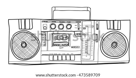 vector Stereo Boombox radio Vintage  handdrawn lineart illustration