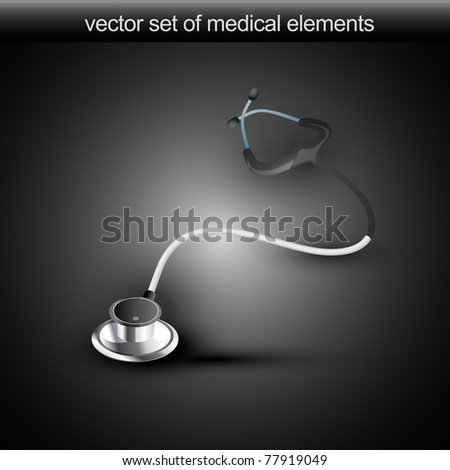 vector stethoscope isolated in dark background