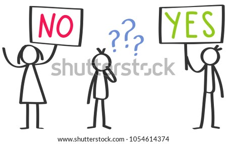 Vector stick figures, holding up boards saying YES and NO, one stick man undecided isolated on white background