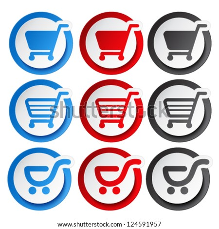 Vector sticker, shopping cart, trolley, item, button