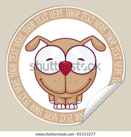Vector sticker with dog. Place for your text. - stock vector