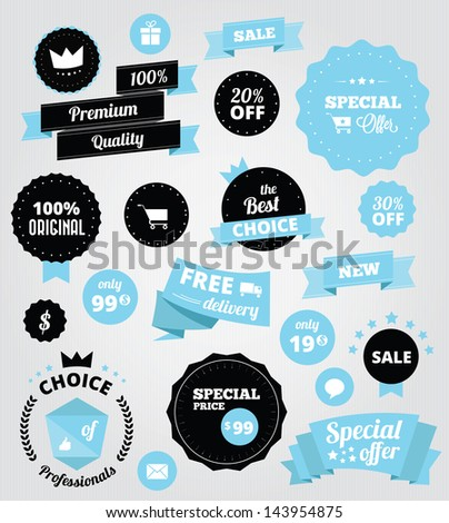 vector stickers and ribbons set blue