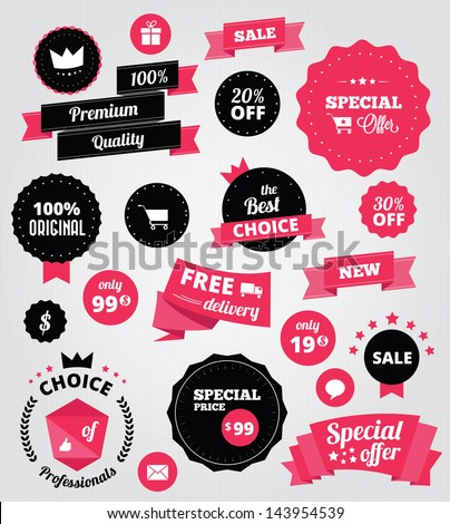 vector stickers and ribbons set red
