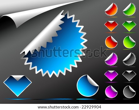 Vector Stickers (Easy Change Colors, Only Gradient Used) - stock vector