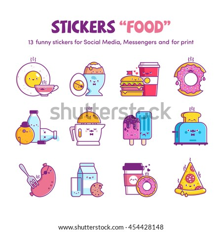 vector stickers food  for