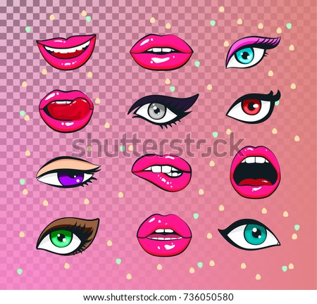 vector stickers kit of female