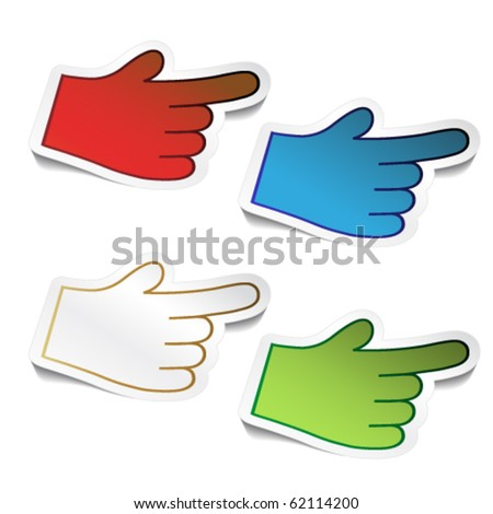 Vector stickers of bended hand cursor