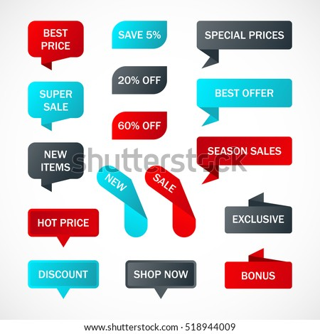 Vector stickers, price tag, banner, label.