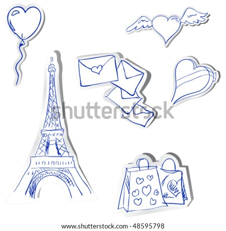 vector stickers. Romantics theme
