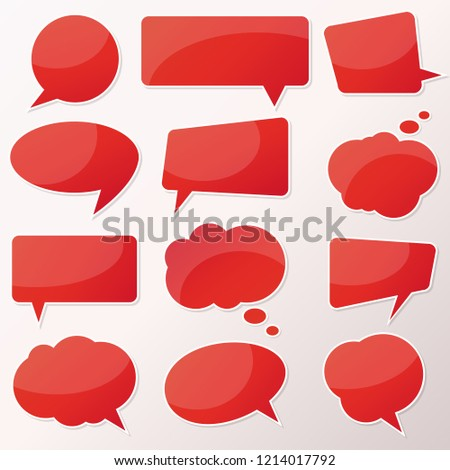 Vector stickers thought, speech bubbles, banner, label, cloud. Coupon sale, offers and promotions vector template. Talk balloon. Quote box. Text, information frame. Banner and badge. ストックフォト ©
