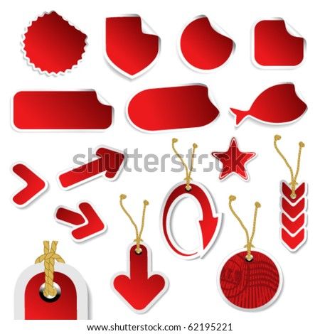 Vector stickers with curled corner,  tags and arrows - stock vector