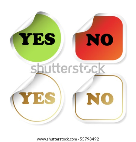 Vector stickers with curled corner - yes and no