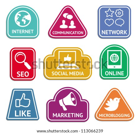Vector stickers with social media and internet  marketing icons - web concept