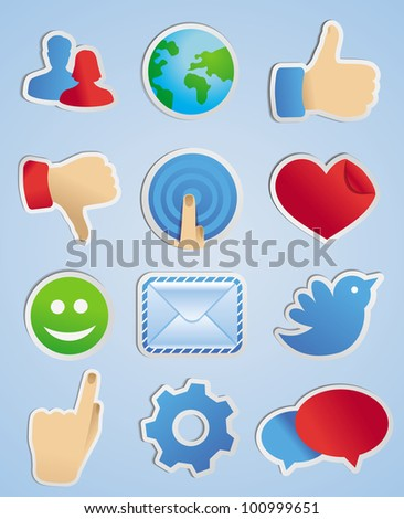 vector stickers with social media icons in scrapbook style