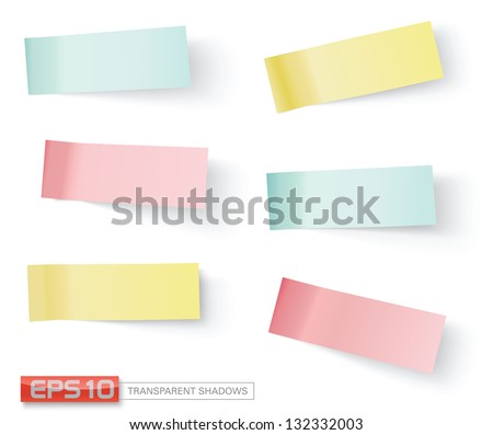 vector sticky notes, transparent shadows