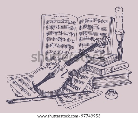 Vector still life. Violin with bow, books, pages of notes, ink, and a candlestick with a candle - stock vector