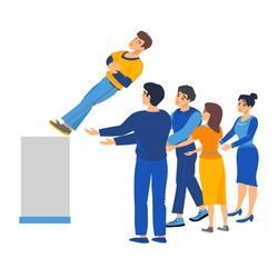 Vector, stock, color illustration of a man and a woman, a group of people catch a falling support man. Partnership, team, like-minded people, acquaintance, friendliness, trust.