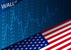 Vector stock exchange chart and american flag. Data analyzing in trading market on Wall Street. Working set for analyzing financial statistics and analyzing a market data.