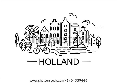 Vector stock illustration in line art style, linear drawings silhouettes of salient features, sights of Holland. For prints on objects, fabrics, clothes, bags. Stok fotoğraf ©